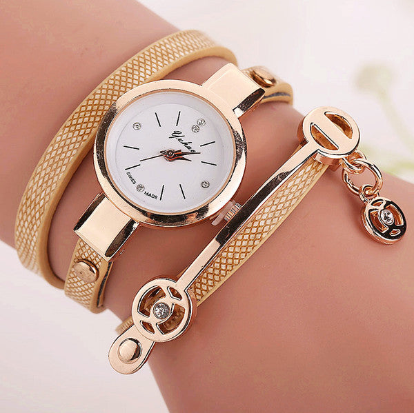 Women Leather Bracelet Watch Gold Case Quartz Watch - Ashlays - 2