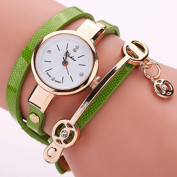 Women Leather Bracelet Watch Gold Case Quartz Watch - Ashlays - 3