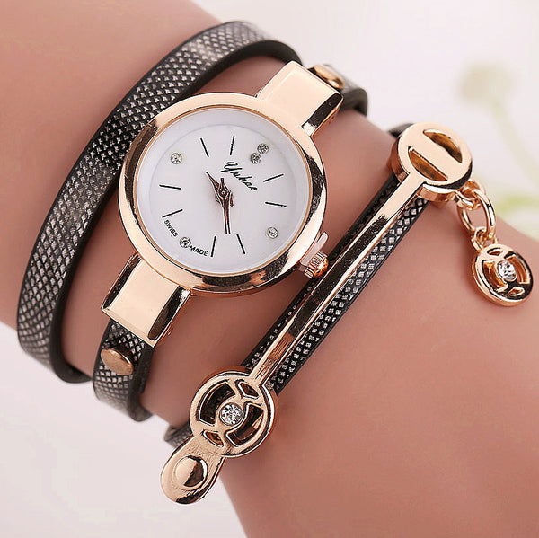 Women Leather Bracelet Watch Gold Case Quartz Watch - Ashlays - 1