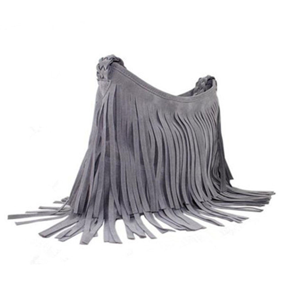 Suede Fringe Weave Tassel Shoulder Bag Messenger Bag - Ashlays - 2