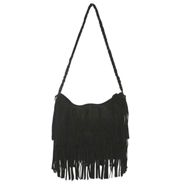 Suede Fringe Weave Tassel Shoulder Bag Messenger Bag - Ashlays - 4