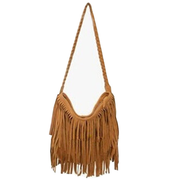 Suede Fringe Weave Tassel Shoulder Bag Messenger Bag - Ashlays - 3