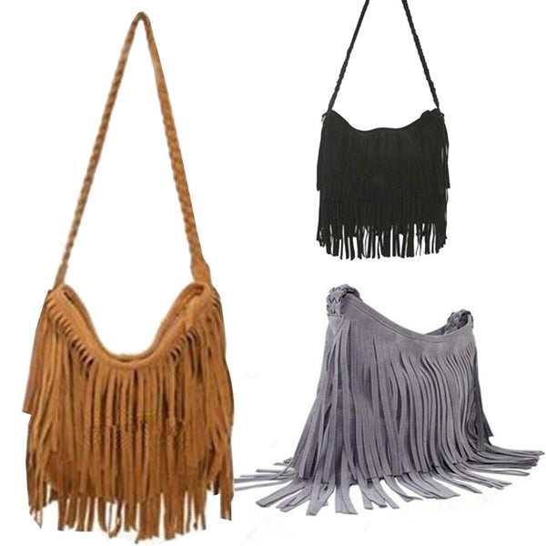 Suede Fringe Weave Tassel Shoulder Bag Messenger Bag - Ashlays - 1