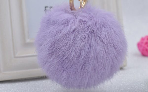 Pom Pom Key Chain Real Rabbit Fur Ball Keychain Plush Fur - Ashlays - 4