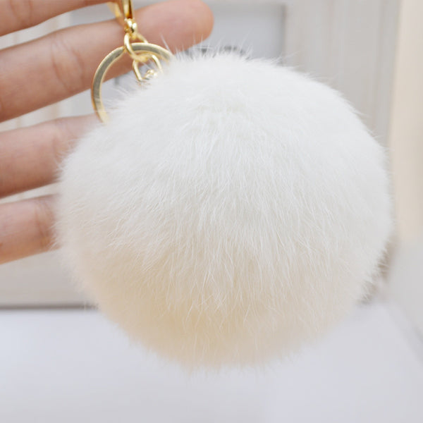 Pom Pom Key Chain Real Rabbit Fur Ball Keychain Plush Fur - Ashlays - 6