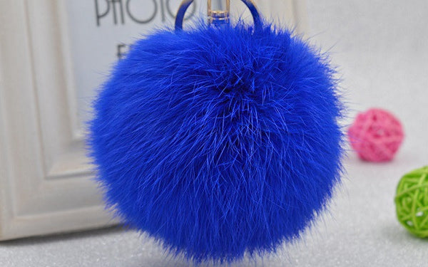 Pom Pom Key Chain Real Rabbit Fur Ball Keychain Plush Fur - Ashlays - 2