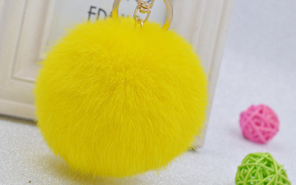 Pom Pom Key Chain Real Rabbit Fur Ball Keychain Plush Fur - Ashlays - 5