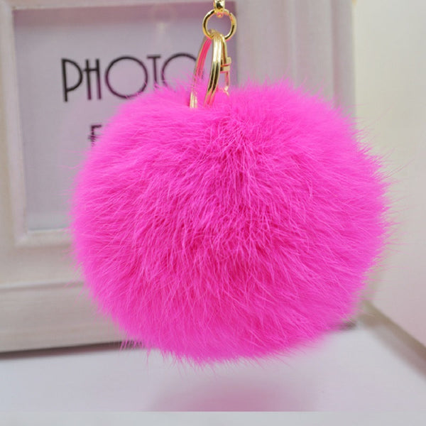 Pom Pom Key Chain Real Rabbit Fur Ball Keychain Plush Fur - Ashlays - 7