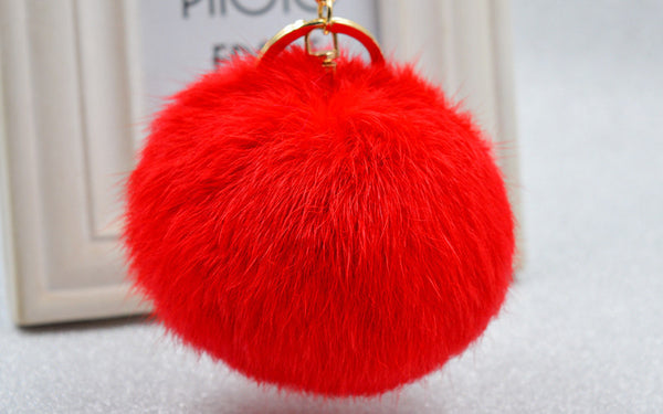 Pom Pom Key Chain Real Rabbit Fur Ball Keychain Plush Fur - Ashlays - 3