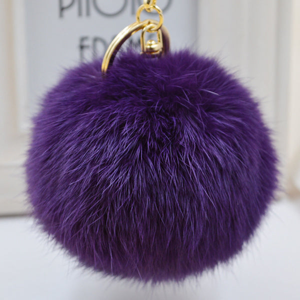 Pom Pom Key Chain Real Rabbit Fur Ball Keychain Plush Fur - Ashlays - 1