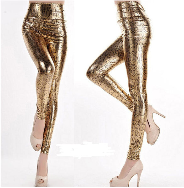 Shiny Printed Slim Fit Base Pants - Ashlays - 4