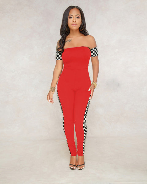 Checkerboard Off Shoulder Jumpsuit