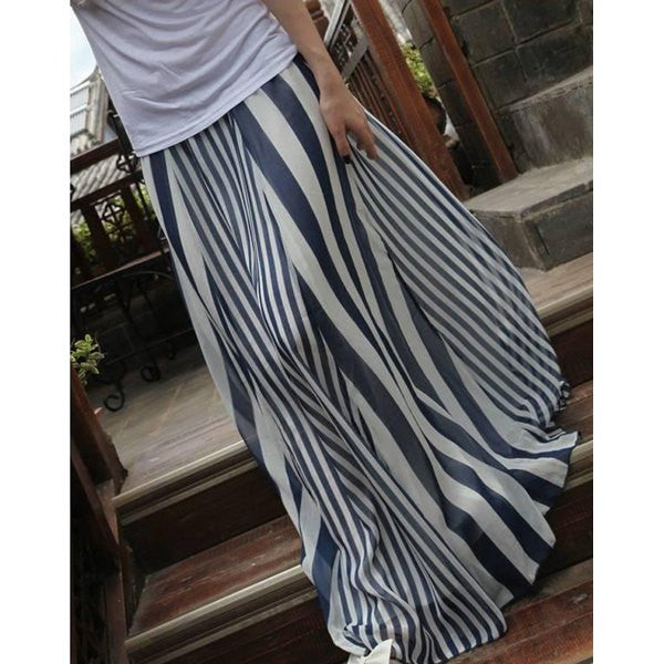 High Waist Vertical Striped Skirt - Ashlays