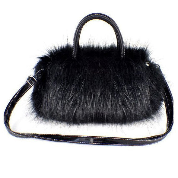 Ladies Handbag  Faux Fur Satchel Clutch Bag Wallet - Ashlays