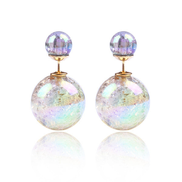 Fashion Bright Colorful Double Beads Stud Earrings - Ashlays - 1