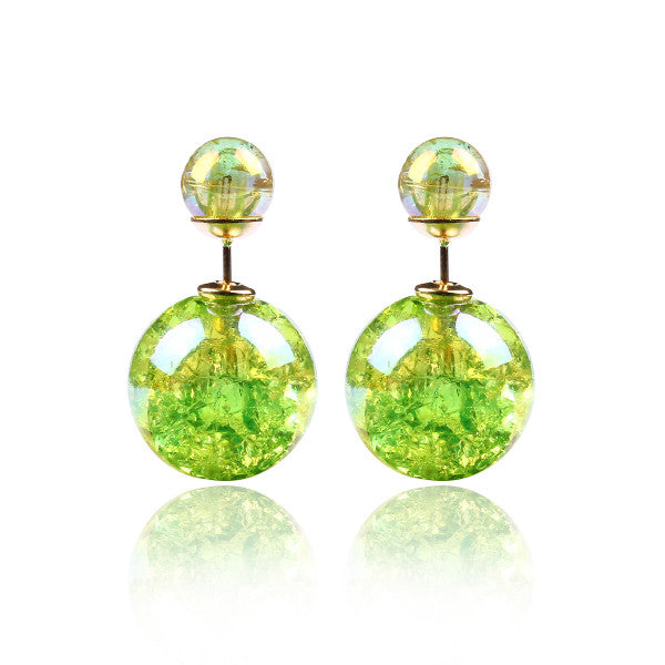 Fashion Bright Colorful Double Beads Stud Earrings - Ashlays - 8