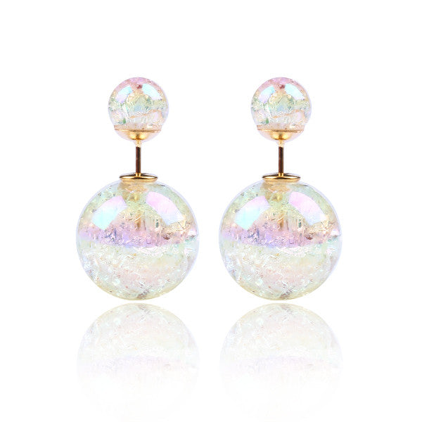 Fashion Bright Colorful Double Beads Stud Earrings - Ashlays - 10