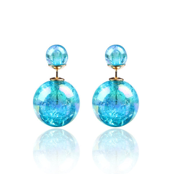 Fashion Bright Colorful Double Beads Stud Earrings - Ashlays - 9