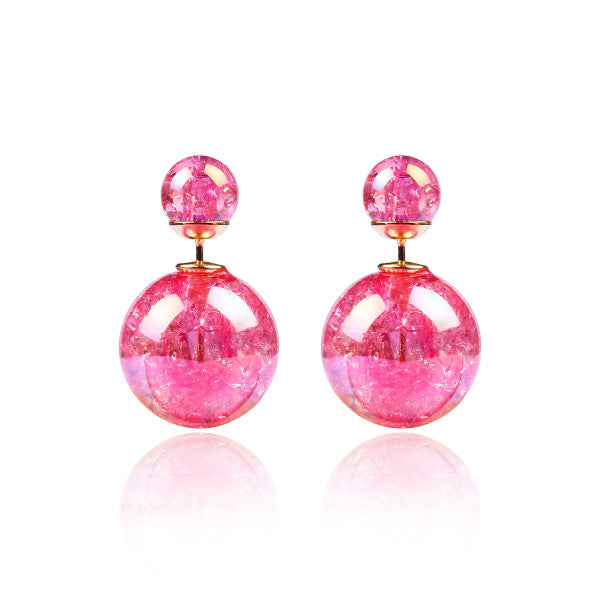 Fashion Bright Colorful Double Beads Stud Earrings - Ashlays - 3