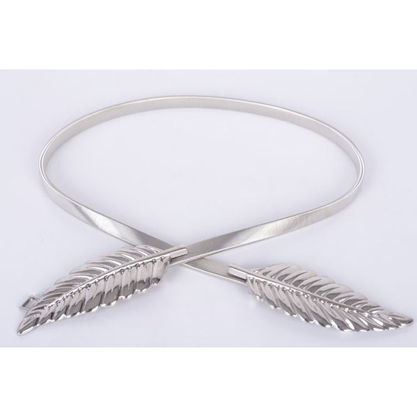 Women Metal Leaves Elastic Waist Dress Belt - Ashlays - 3