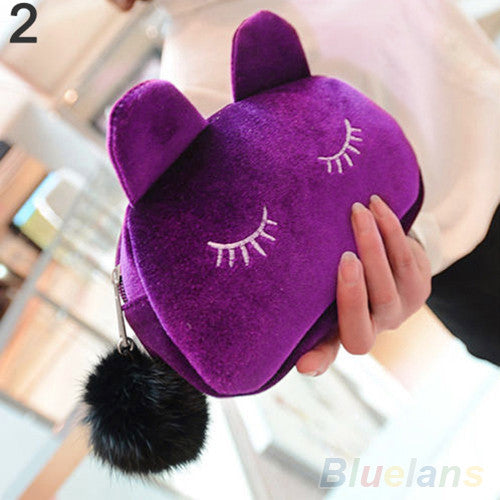 Portable Cartoon Cat Coin Storage Case Travel Makeup Flannel Pouch Cosmetic Bag - Ashlays - 3
