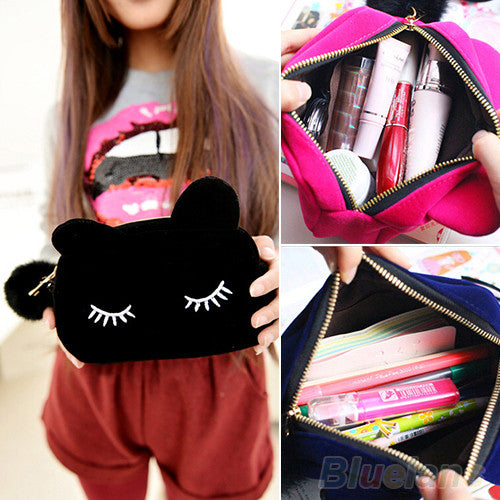 Portable Cartoon Cat Coin Storage Case Travel Makeup Flannel Pouch Cosmetic Bag - Ashlays - 1
