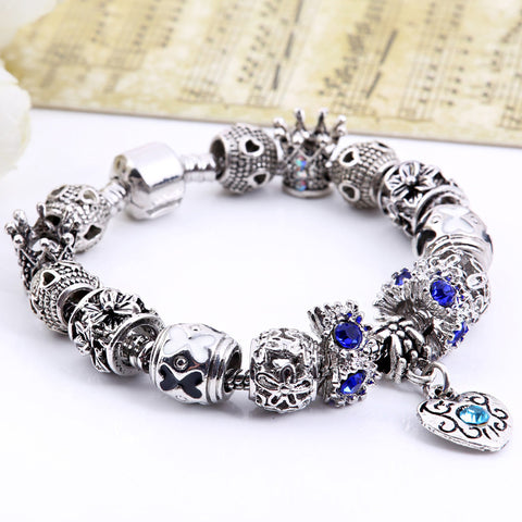 925 Silver Charm Bracelet Fashion Beads Retro Jewelry - Ashlays