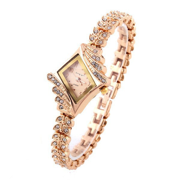 Ladies Dress Watch Stylish Rose Gold Crystal Rhinestone Leaf Buds - Ashlays - 3