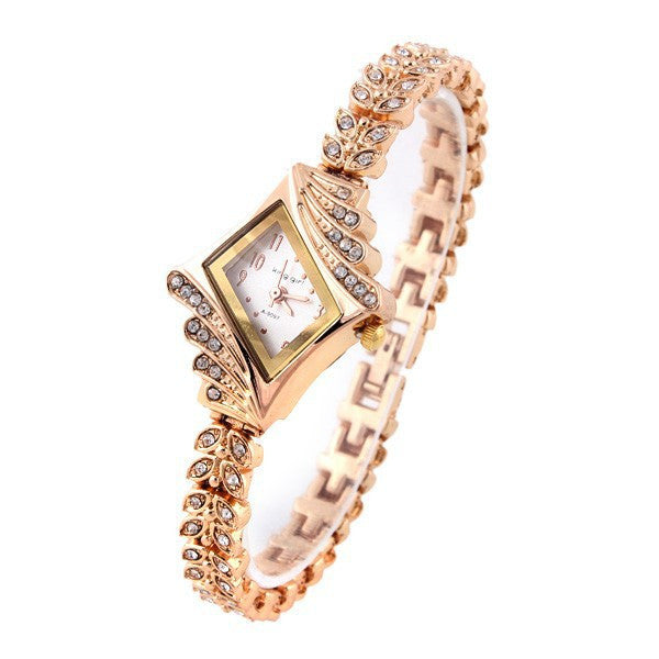 Ladies Dress Watch Stylish Rose Gold Crystal Rhinestone Leaf Buds - Ashlays - 2