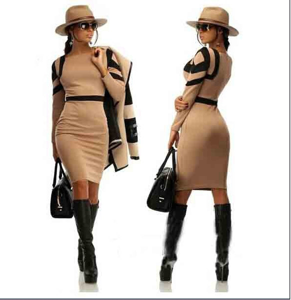 Womens Casual Slim Pencil Dress Spring Fashion Dress Ladies Plus Size Available - Ashlays - 4