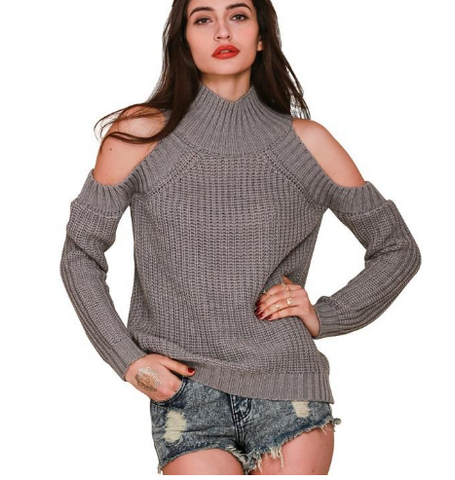 Turtleneck Off Shoulder Knitted Sweater - Ashlays - 1
