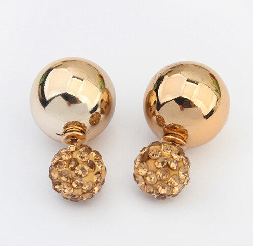 Crystal Two Ball Pearls Stud Earrings Gold - Ashlays - 2