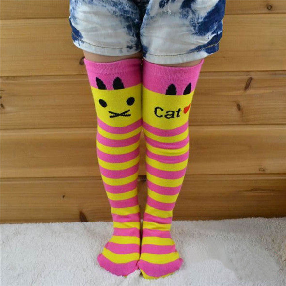 Toddlers Girls Knee High Socks Striped Stockings for Girls - Ashlays - 6