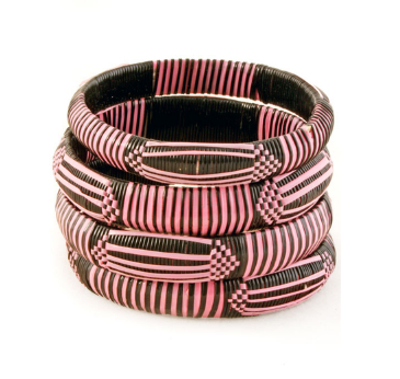 African Pink & Black Bangle Bracelets - Ashlays