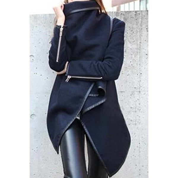 Stylish Long Sleeves Asymmetric Wool Coat - Ashlays