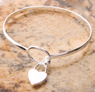 Charm Heart 625 Sterling Silver Bangle Bracelet - Ashlays