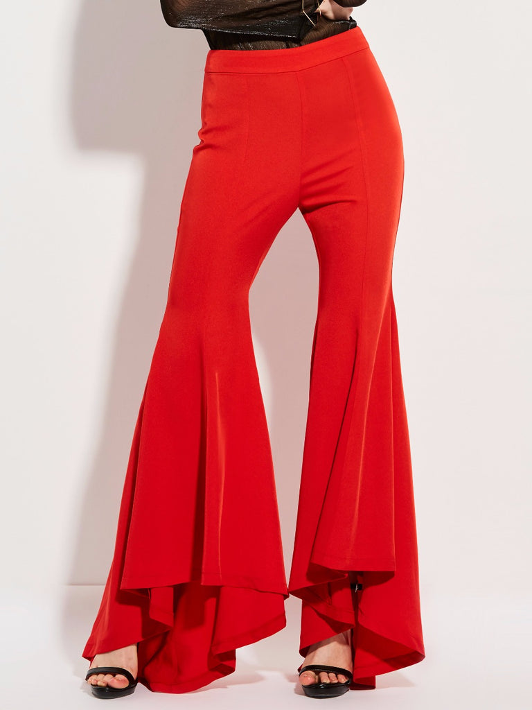 Red Flare Bellbottom Trousers
