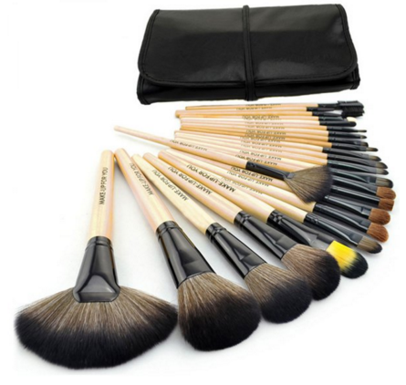 Makeup Brush Set with Black Pouch Bag - Ashlays