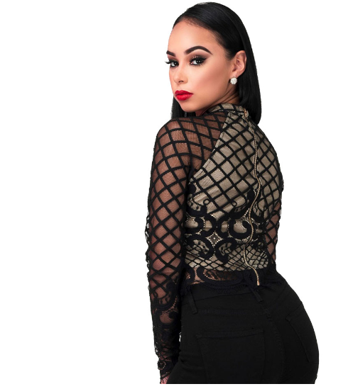Black Long Sleeve Mesh Lace Crop Top - Ashlays - 4