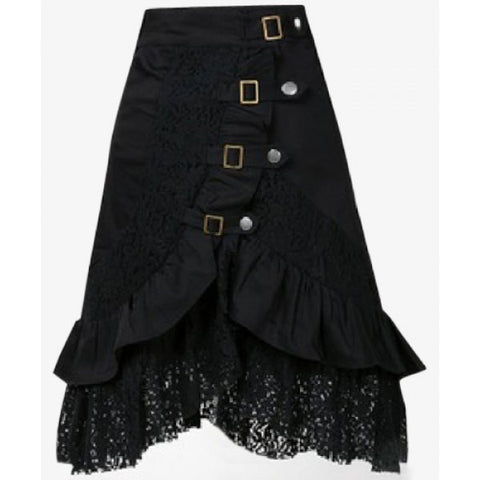 Punk Style Black Riveted Laced Skirt - Ashlays