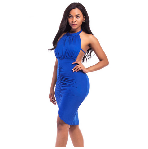 Halter Neck Sleeveless Bandage Dress