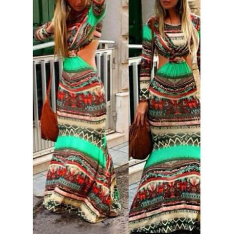 Bohemian Printed Cut Out Maxi Dress - Ashlays