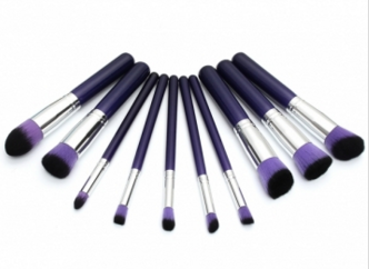 Purple Makeup Brushes 10 PC Set - Ashlays - 2