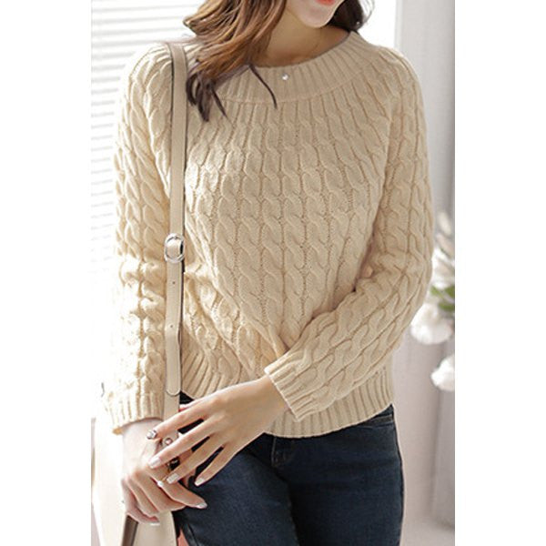 Retro Style Long Sleeve Cable-Knit Sweater - Ashlays - 2