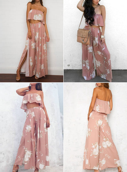Chiffon Floral Two-Piece Jumpsuit
