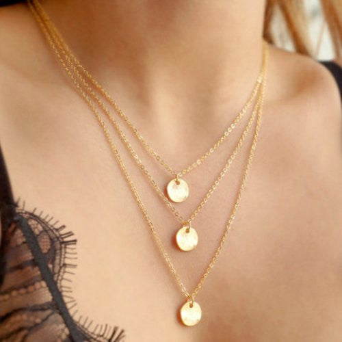Layered Round Pendant Necklace - Ashlays - 1