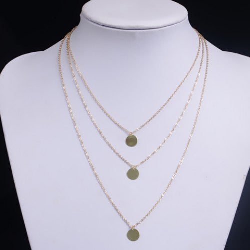 Layered Round Pendant Necklace - Ashlays - 2