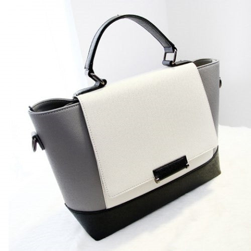 PU Leather and Color Block Design Women's Tote Bag - Ashlays - 2