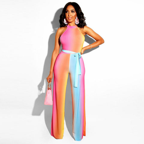 Rainbow Print Wide Leg Jumpsuit