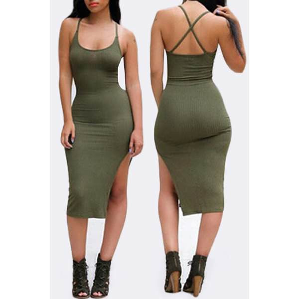 Spaghetti Strap Criss-Cross Bodycon Dress - Ashlays